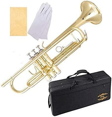 Glory Brass Bb Trumpet with Pro Case +Care Kit, Gold, No NEED TUNING,Play directlly. More COLORS Available ! CLICK on...