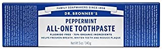Dr. Bronner's Peppermint Toothpaste. Fluoride-Free Natural Toothpaste with Organic Ingredients (5 Ounce). (3 Pack)