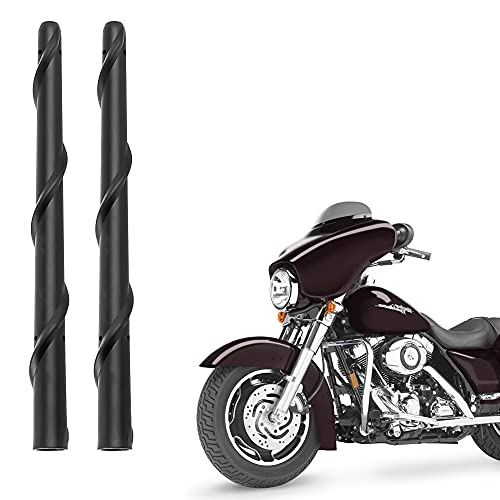KSaAuto H14 Pair AM/FM Radio Antenna for Harley Davidson Road Street Electra Tour Glide (20 Types Optional) 7 Inch Wide Spiral, Copper Core & Screw, Flexible Rubber, Motorcycle Antenna