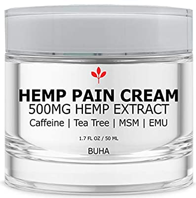 Hemp Cream for Pain Relief - 500MG Lotion for Arthritis & Inflammation - Relieves Muscle & Joint Tension - All Natural - Menthol Free - With Arnica, MSM, Caffeine, Tea Tree, EMU, Vitamin E / B6 (50ML) from BUHA llc