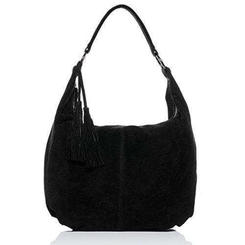 BACCINI Beuteltasche echt Wildleder Selina groß Hobo Bag Schultertasche Ledertasche Damen schwarz