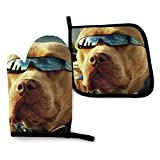 XCNGG Guantes para microondas Pitbull Dogs Unisex Pattern Heat Resistant Oven Mitts Pot Holders for Kitchen Set Soft Anti-Scald Cotton Non-Slip Gloves,
