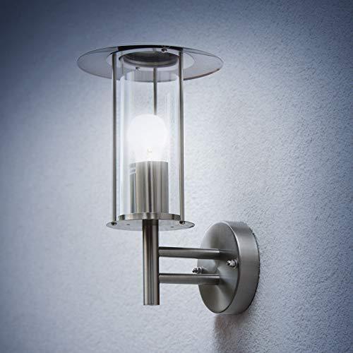 Grafner Design Edelstahl Wandlampe mit 1x E27 Fassung, IP44 Wand Außenleuchte, 360° rundum Lichtschein, für außen und innen, Wandleuchte Lampe Außen Hoflampe