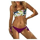 riou Bikini Conjuntos de Bikinis para Mujer Push Up Mujeres Cintura Alta con Estampado brasileños Vikinis Sexy con Relleno Tops y Braguitas Traje de Baño de Dos Piezas