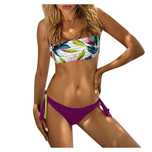 IHEHUA Bikini Set Damen Bademode Zweiteilige Badeanzüge Bandeau Drucken Geblümt Seitlich Gebunden Bikinihose Oberteil Swimsuit mit Gepolsterter Swimwear Schwimmanzug(A-Lila,M)