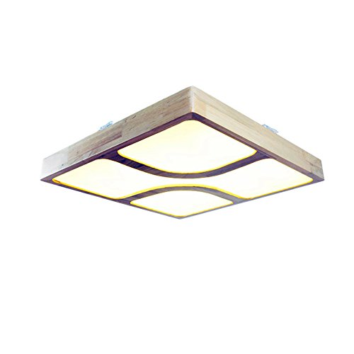 BRIGHTLLT Luminaire en bois massif éclairé par le salon Lampe de plafond en acrylique minimaliste moderne lampe de chambre lampadaire éclairage graduel à gradins carré, 650 * 650 * 80mm