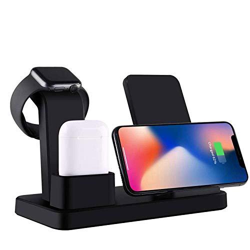Soporte De Carga De Aluminio para Reloj para Estación De Cargadores Airpods Compatible con Apple Watch 4/3/2/1 / Airpods/iPhone XS MAX/XS/XR/X / 8/8 Plus / 7/7 Plus/iPad, Negro