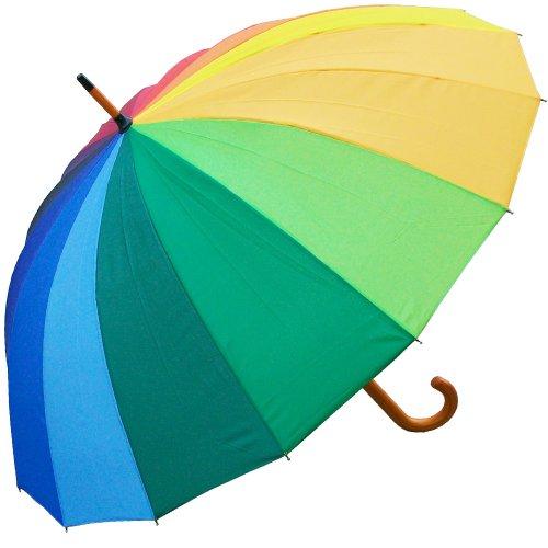 RainStoppers Auto Open 16-Panel Rainbow Umbrella with Wood Hook Handle, 48-Inch