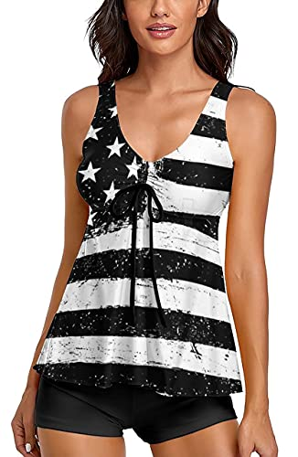 Omichic Cute Black American Flag Tankini Tops Swimsuits for Women's Ruching Flowy Bathing Suits with Boyleg