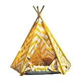 little dove Pet Teepee House Indian Tents Wood Canvas Tipi Fold Away Pet Tent Furniture Cat Bed (Yellow with Mat)