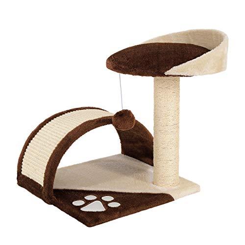 dibea Tiragraffi per gatto albero tiragraffi gatto gioco giocattolo gatti Altezza 43 cm marrone/beige