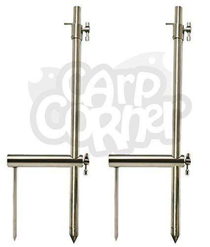 NGT 2x Karpfenangeln Tackle Edelstahl Bank Sticks 30-50cm und 2x Stabilisatoren