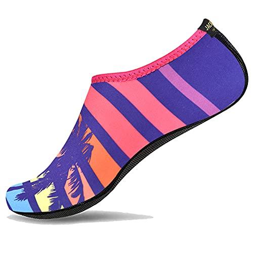 JACKSHIBO Zapatos de Agua Hombre Mujer Niño Deportes Acuáticos Natación Zapatos Calcetines Surf Yoga, 18 árbol de Coco 43/44 EU