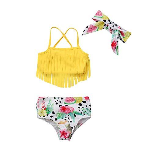 Toddler Kids Baby Girl Swimwear Cute Dinosaur Print Tassel Top Bikini Set Summer Swimsuit Beachwear with Headband (Yellow, 18-24 Months)