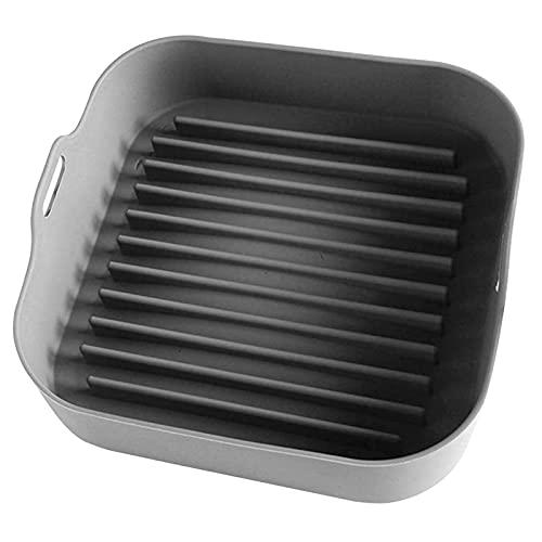 Olla de silicona para freidora de aire, cesta de repuesto para revestimientos de papel, freidoras de aire accesorios para horno, sartén cuadrada no pegada, apta para lavavajillas (gris)