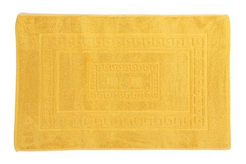 Homelife Tapis de bain rectangulaire en coton, tapis de douche en éponge de haute qualité, fabriqué en Italie, lavable en machine, style classique et élégant, coloré 45x60 jaune