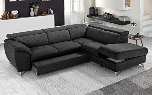 Sofá cama esquinero tejido romeo negro chaise longue a la derecha