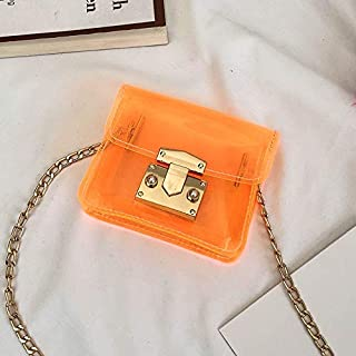Adebie - Girls New 2019 Summer Transparent Cross Body Bags Mini Children Jelly Messenger Bags Chains Candy Flap Clear Fashion Kid's Bags Orange