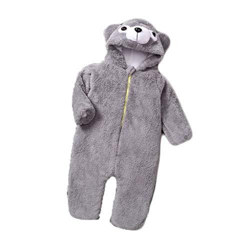 Disfraces para niños Niños Oso Gris Animal Unisex Pijamas de los niños, otoño Invierno de la Franela con Capucha Romper Pijamas de Animales para niños (Size : 60-70)