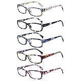 5 Pack Computer Reading Glasses Men and Women Anti Eyestrain Blue Light Blocking Glasses for Reading (5 Mix-2, 1.75)
