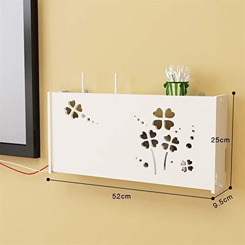 HAOKE Cat Smile - Caja para router inalámbrico con WiFi (PVC, para colgar, con soporte para tablero, organizador para decoración del hogar, 3 tamaños (color: L Clover)
