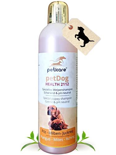 Peticare Welpen Pflege-Shampoo bei Juckreiz Milben Pilz Floh - Spezial Hunde Welpen-Shampoo bei unangenehmem Fell-Geruch, pflegt die Hunde-Haut, effektive Pflege-Formel - petDog Health 2112