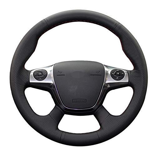 WENYOG Lenkradbezug Auto Schwarz Soft-Kunstleder-Auto-Lenkrad-Abdeckung for Ford Focus 3 2012-2014 KUGA Flucht...