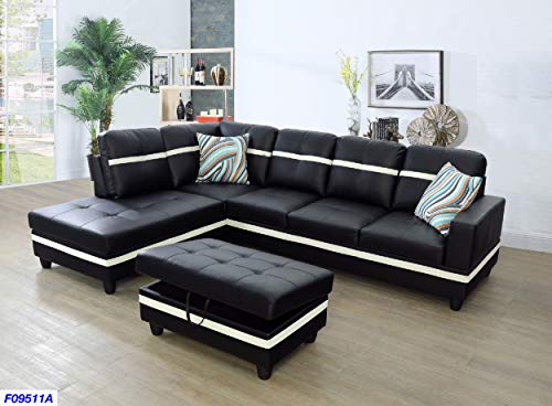Beverly Fine Funiture Sectional Sofa Set Black and White