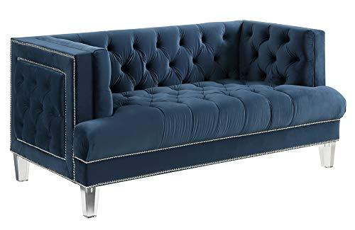 Acme Furniture Ansario Love Seats, Blue Velvet