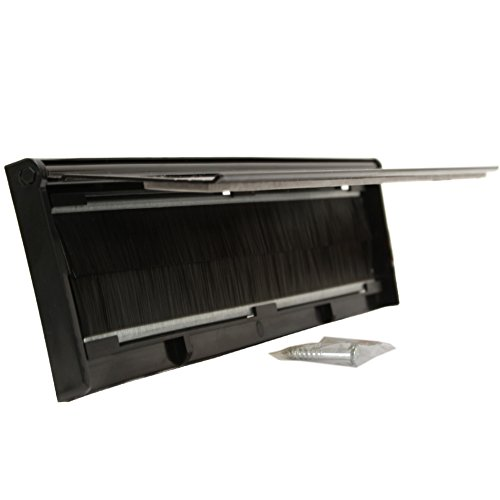 Stormguard 06SR0310000W Borstenschutz für Briefschlitze, Metall, für die Tür, mit Bürste und Deckel, Schwarz