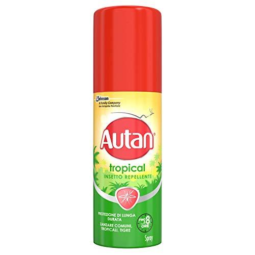 Autan Tropical Insetto Spray Insetto Repellente e Antizanzare Tigre e Comuni, Confezione da 50 ml, Protezione di Lunga Durata