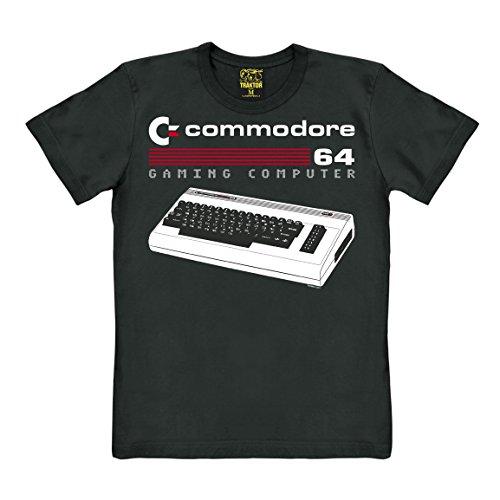 Traktor Nerd - Commodore 64 - spelcomputer - toetsenbord - T-shirt - zwart - origineel merk