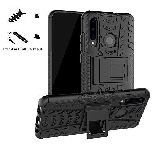 LiuShan Honor 20 Lite Funda, Heavy Duty Silicona Híbrida Rugged Armor Soporte Cáscara de Cubierta Protectora de Doble Capa para Huawei Honor 20 Lite/10 Lite/P Smart 2019/P Smart Plus 2019,Negro
