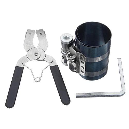 Herramienta de instalación de pistón de 3 pulgadas,Herramienta de compresor de anillo de pistón de motor de coche Juego de alicates Con tornillos de seguridad ajustables Trinquete ajustable