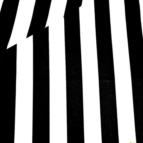Pingianer - Tela de algodón para niños, 100 % algodón, por metros, artesanía, costura, Tiras de color blanco y negro, 6 cm., 100x160cm (11,99/m)