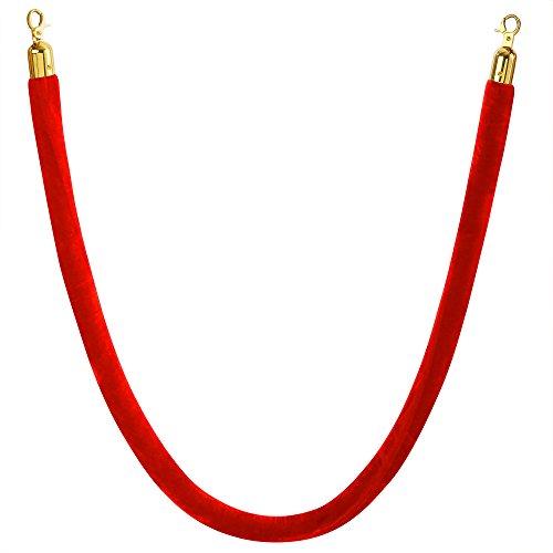Kordel für Personenleitsystem aus Samt / 1,5 Meter/rot/Silberne oder goldene Beschläge (Gold)