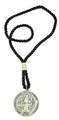 Religious Gifts Protection from Evil Pendant Saint Benedict Door Medal on 10 Inch Cord Chain