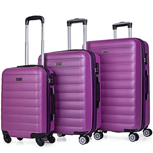 ITACA - Juego de Maletas de Viaje Rígidas 4 Ruedas Trolley 55/65/75 cm ABS. Extensibles. Cómodas Prácticas y Ligeras. 3 Tamaños Pequeña Mediana y Grande. Calidad y Precio. 71200, Color Morado