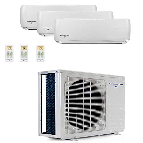 Thermocore T322D-H236 9 22 Seer Tri Zone Ductless Mini Split Air Conditioner, Large, White