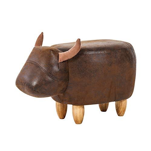 TUKAILAI Animal Shape Footstools Ottomans Padded Cushion Footstool Pouffe Stool Rest Seat Sofa Chair Dark Brown Bull