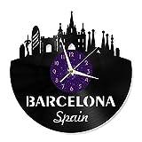Barcelona Reloj de Pared con Disco de Vinilo de 12 Pulgadas,...