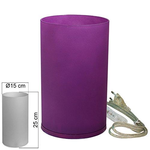 Tischleuchte Glas lila Tischlampe E14 in Zylinder Form Höhe 25cm