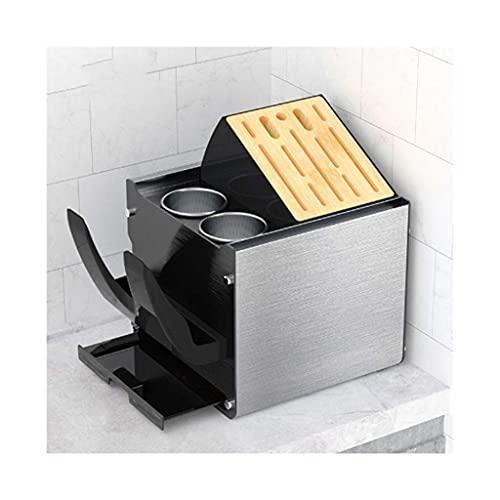Messenplankhouderblok zonder messen Aanrechtblad, keukenopslagorganisator Messenkoffer Multifunctioneel composietrek Houten gleufopslag