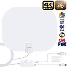 HDTV Antenna, 2020 New Indoor Digital HDTV Antenna,130+ Miles Range with Amplifier Signal Booster USB Power Supply for 4K HD VHF UHF Free Local Channels Support All TV's-17ft Coax Cable