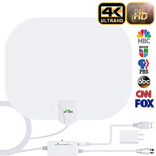 HDTV Antenna, 2020 New Indoor Digital HDTV Antenna, 130+ Miles Range with Amplifier Signal Booster USB Power Supply for 4K HD VHF UHF Free Local Channels Support All TV's-17ft Coax Cable