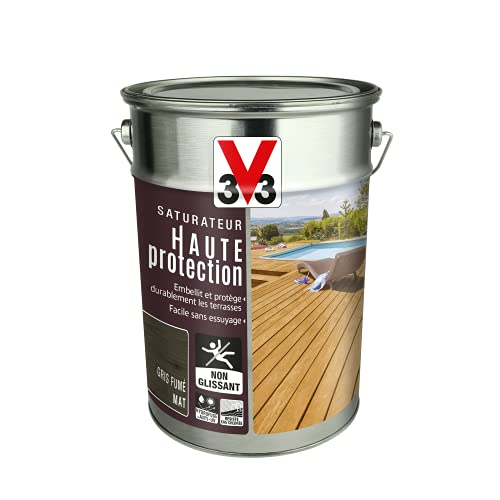 V33 113645 V33-Saturador para terraza de alta protección, color gris ahumado (5 L)