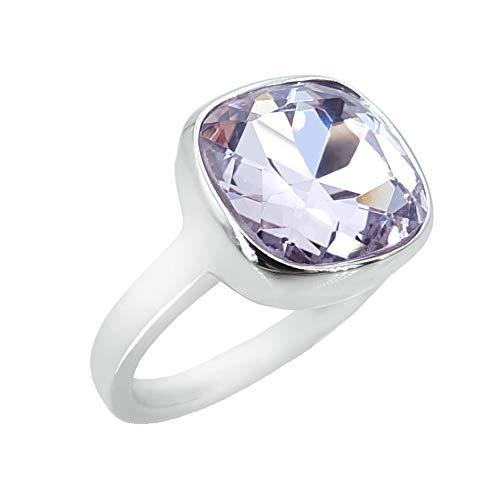 nobel-schmuck Damen-Ring Silber Violett Lila großer Kristall Cocktailring mit Stein