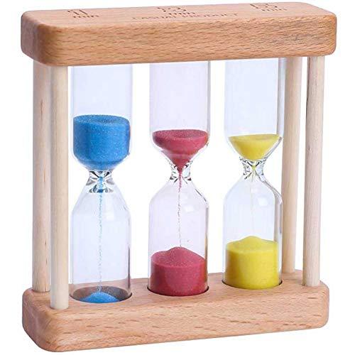 Wakerda 3 en 1 Madera Reloj de Arena Temporizador Ideal para el Hogar Juegos 1 min/3 min/5 min