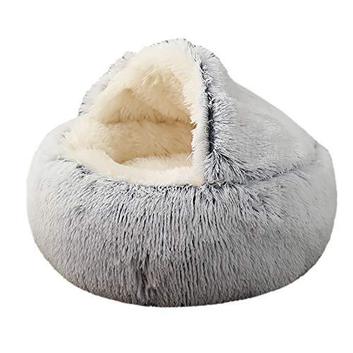 MIEMIE Cama redonda de felpa suave para gatos con capucha, para perros y gatos, de piel sintética, cómoda, lavable a máquina, impermeable, tamaño mediano, color gris