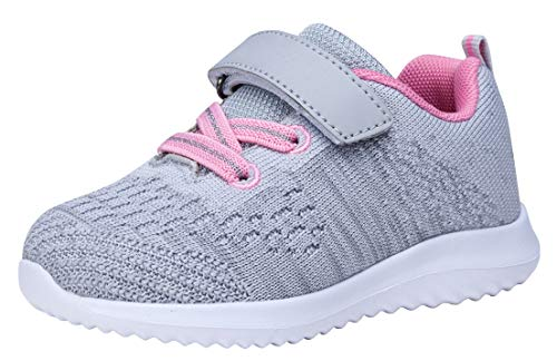 COODO Toddler/Little Kid Boys Girls Shoes Running Sports Sneakers (4 Toddler,Lt.Grey)